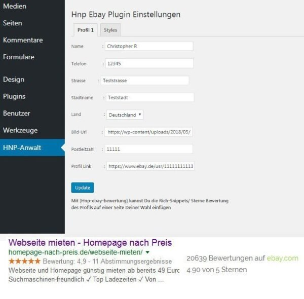 Ebay-de Wordpress Plugin Sterne Bewertungen